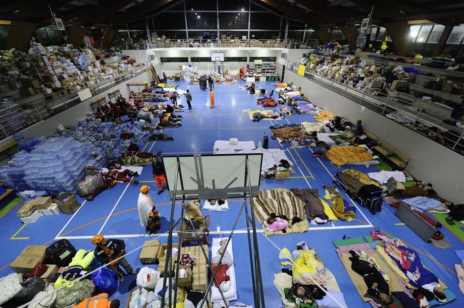 Il palazzetto dello sport di Amatrice adibito a centro di accoglienza per i terremotati